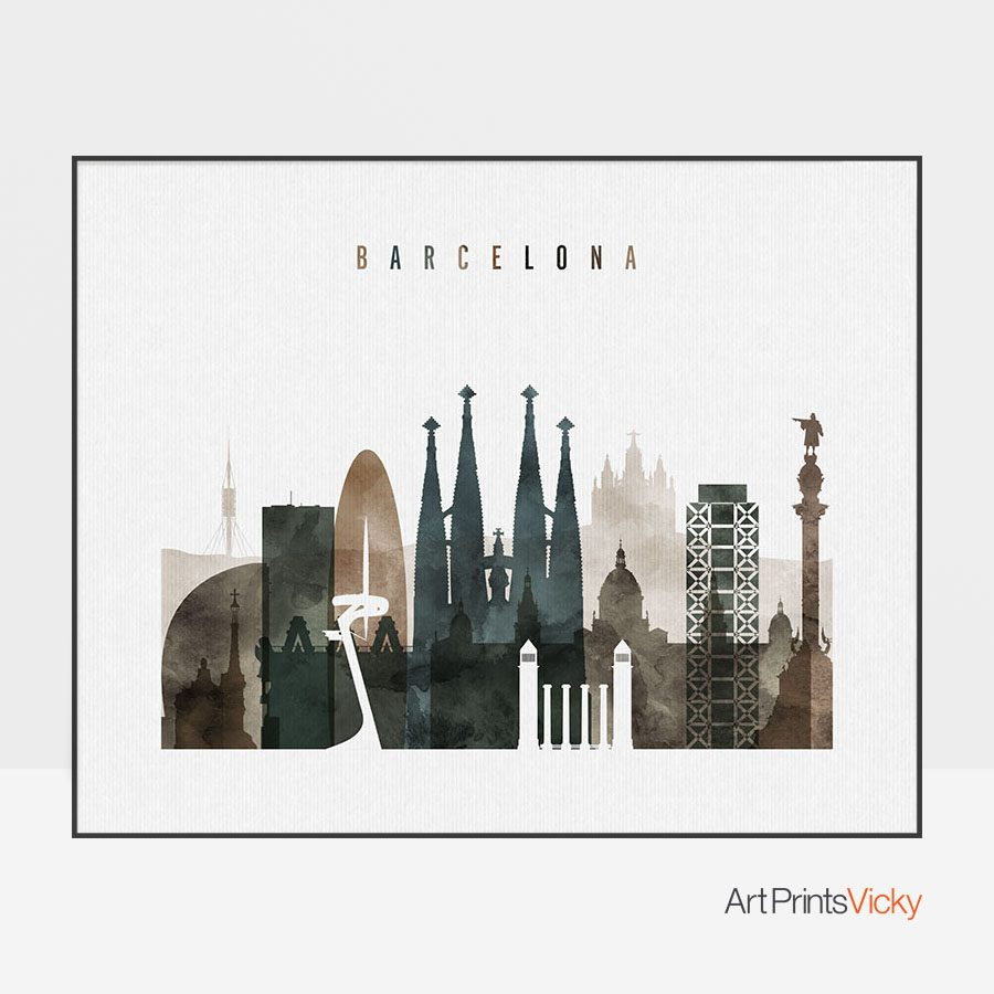 Barcelona Watercolor 2 Landscape Print