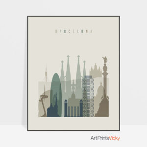 Barcelona print skyline earth tones 1