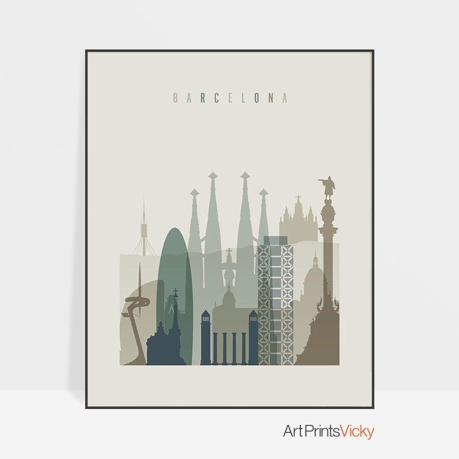 Barcelona print skyline earth tones 1