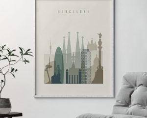 Barcelona print skyline earth tones 1 second
