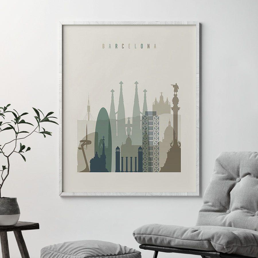 Barcelona print skyline earth tones 1 second