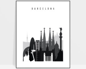 Barcelona skyline black and white art