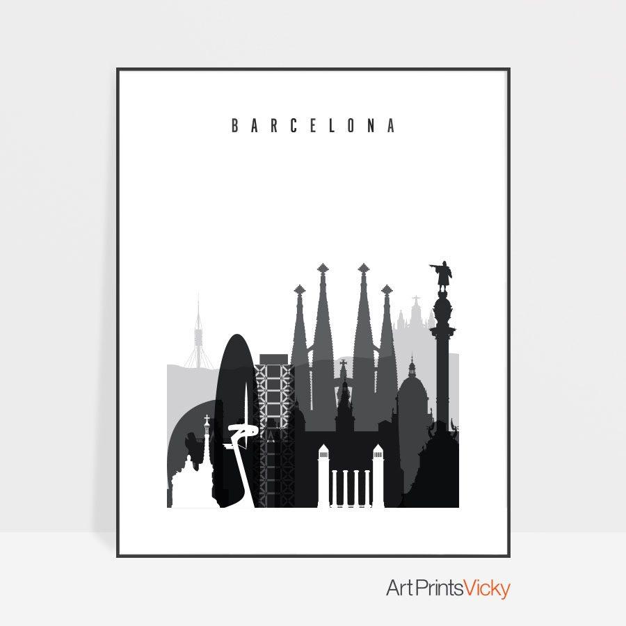 Barcelona skyline black and white art