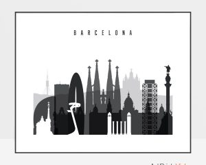 Barcelona black and white skyline poster landscape