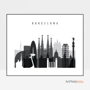 barcelona skyline poster black and white landscape photo at artprintsvicky.com