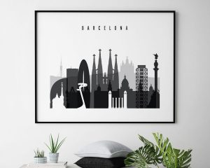 Barcelona black and white skyline poster landscape second