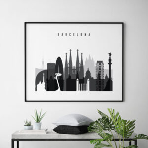 barcelona skyline poster black and white landscape second photo at artprintsvicky.com