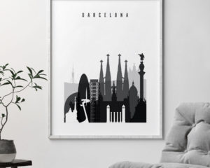 Barcelona skyline black and white art second