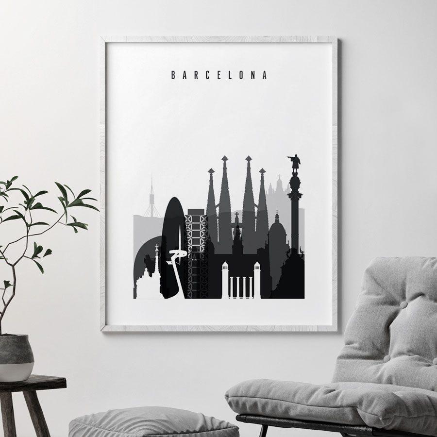 Barcelona skyline black and white art second