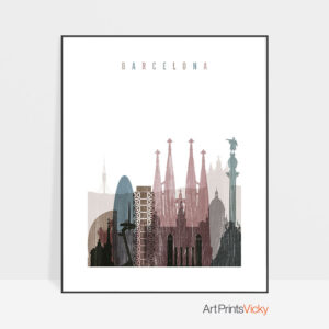 Barcelona skyline poster distressed 1