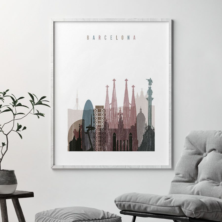 Barcelona skyline poster distressed 1 second
