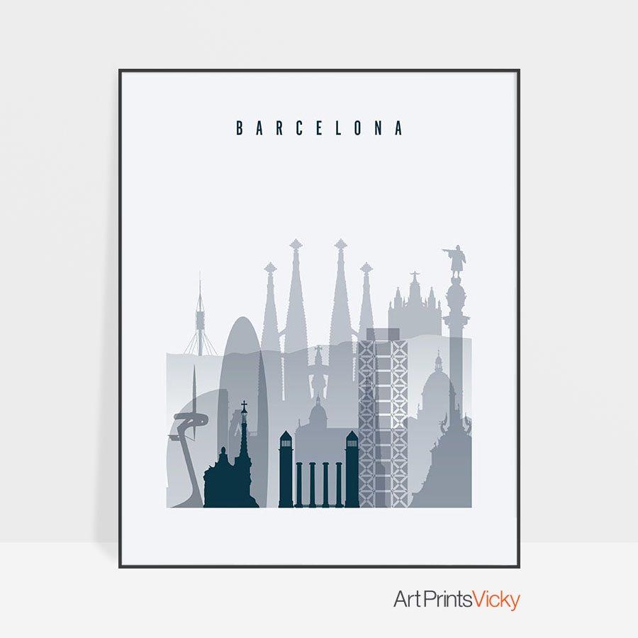 Barcelona skyline poster grey blue