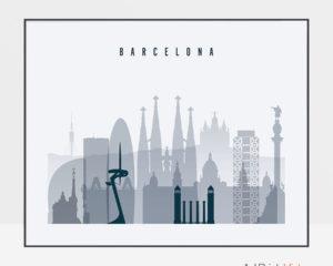 Barcelona skyline art grey blue landscape
