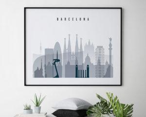 Barcelona skyline art grey blue landscape second