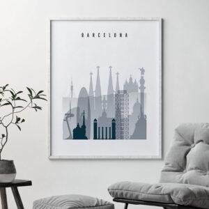 Barcelona skyline poster grey blue second