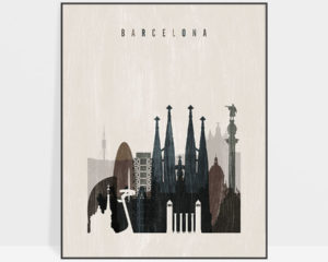 Barcelona skyline print distressed 2