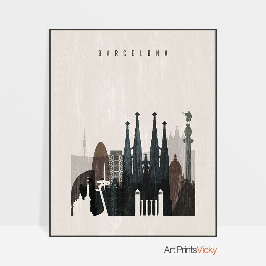 Barcelona skyline print distressed 2