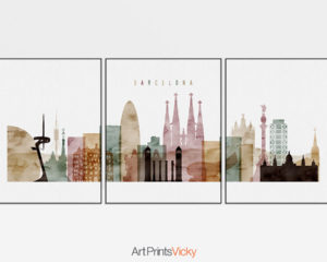 Barcelona watercolor 1 skyline set of 3 prints