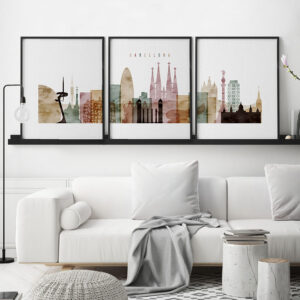 Barcelona watercolor 1 skyline set of 3 prints second