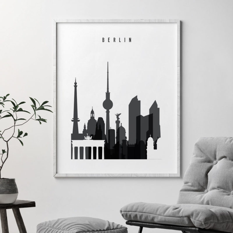 Berlin skyline black and white art second