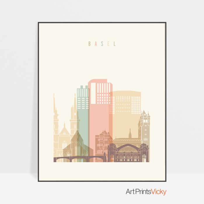 Basel art print skyline pastel cream
