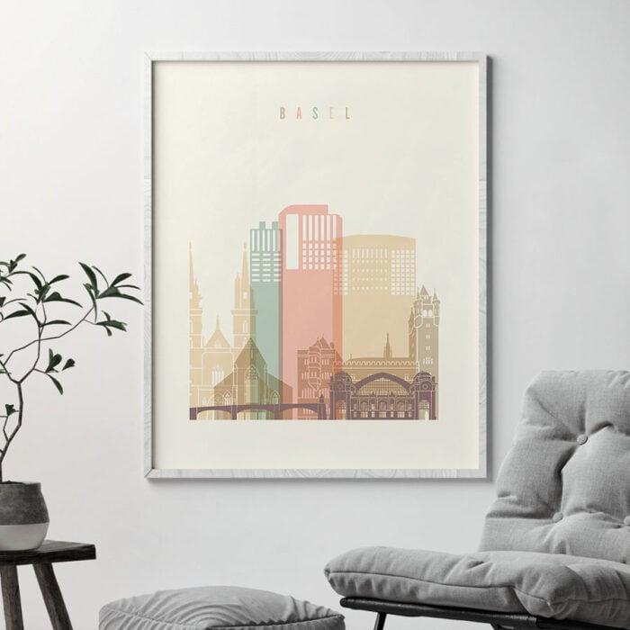 Basel art print skyline pastel cream second