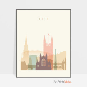 Bath art print skyline pastel cream