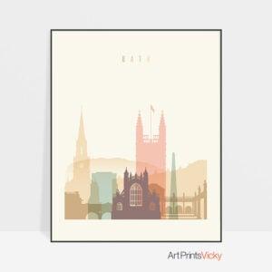 Bath art print skyline pastel cream
