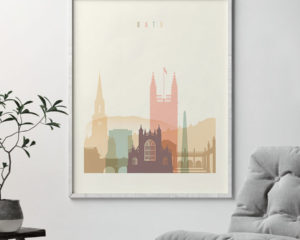 Bath art print skyline pastel cream second