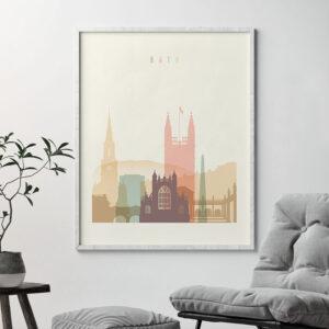 Bath art print skyline pastel cream second