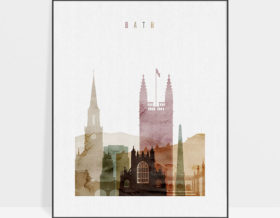 Bath skyline art print watercolor 1