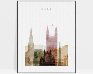 Bath skyline art print watercolor 1