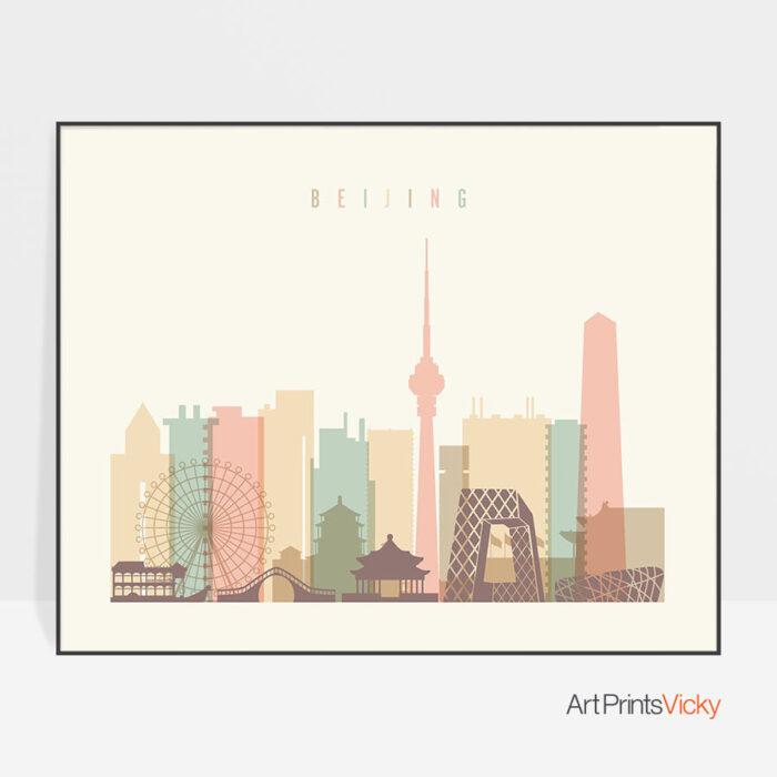 Beijing poster skyline pastel cream landscape