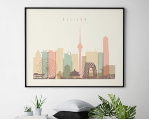 Beijing poster skyline pastel cream landscape second