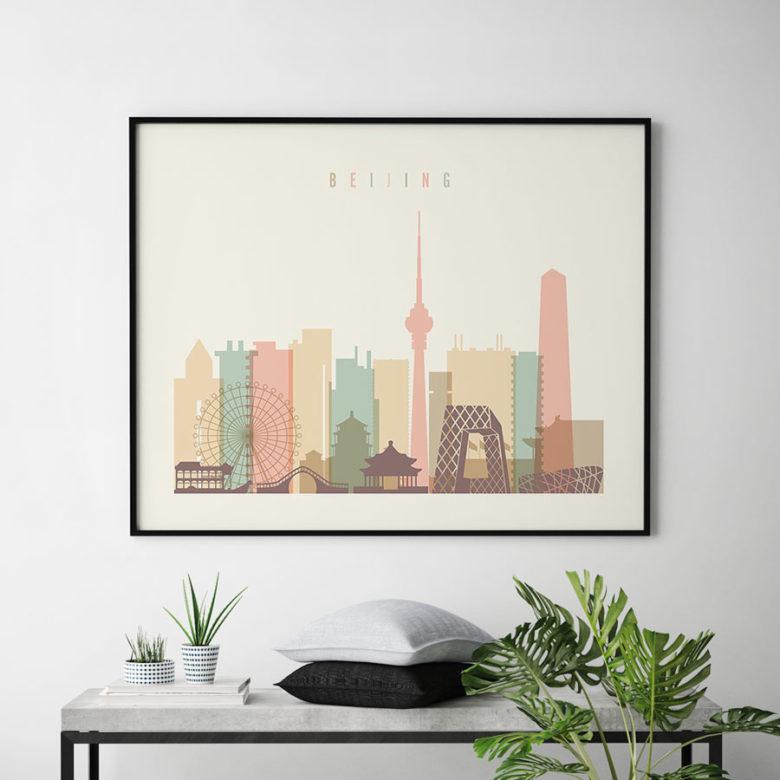 Beijing poster skyline pastel cream landscape second