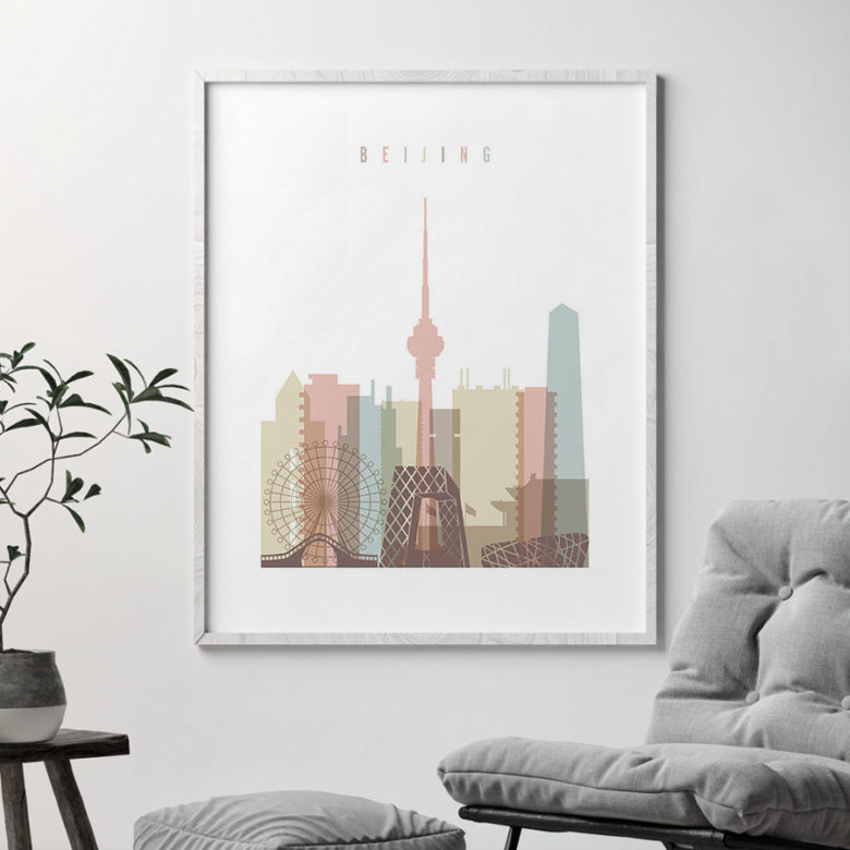 Beijing wall art pastel white second