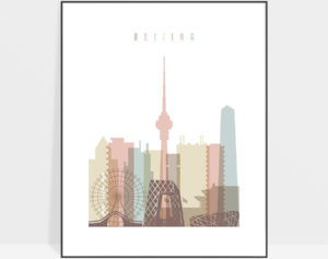 Beijing wall art pastel white