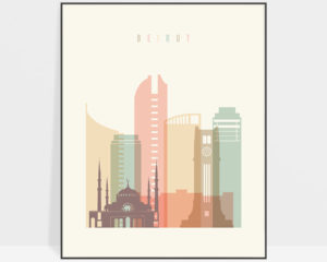 Beirut art print skyline pastel cream