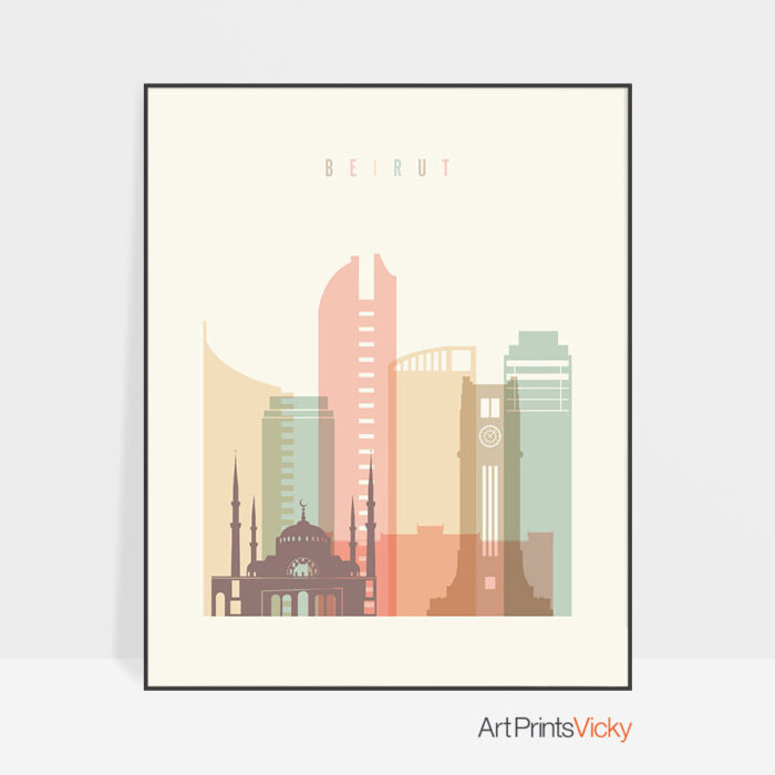 Beirut art print skyline pastel cream
