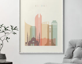 Beirut art print skyline pastel cream second