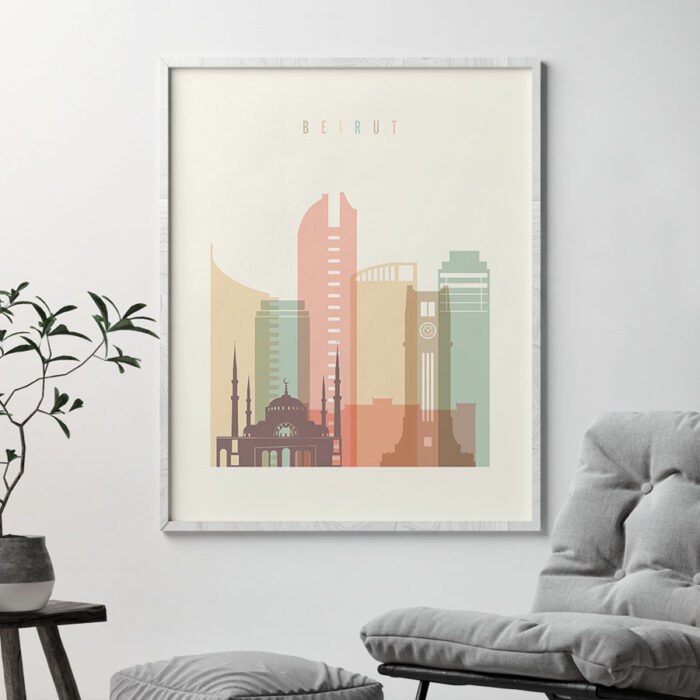 Beirut art print skyline pastel cream second