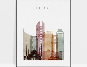 Beirut skyline art print watercolor 1