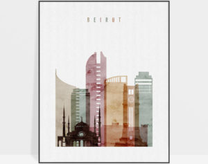 Beirut skyline art print watercolor 1