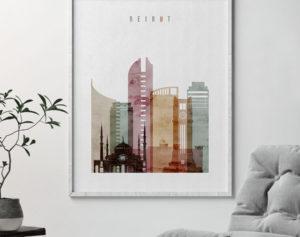 Beirut skyline art print watercolor 1 second