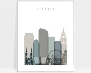 Belfast art print skyline earth tones 4
