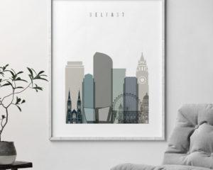 Belfast art print skyline earth tones 4 second