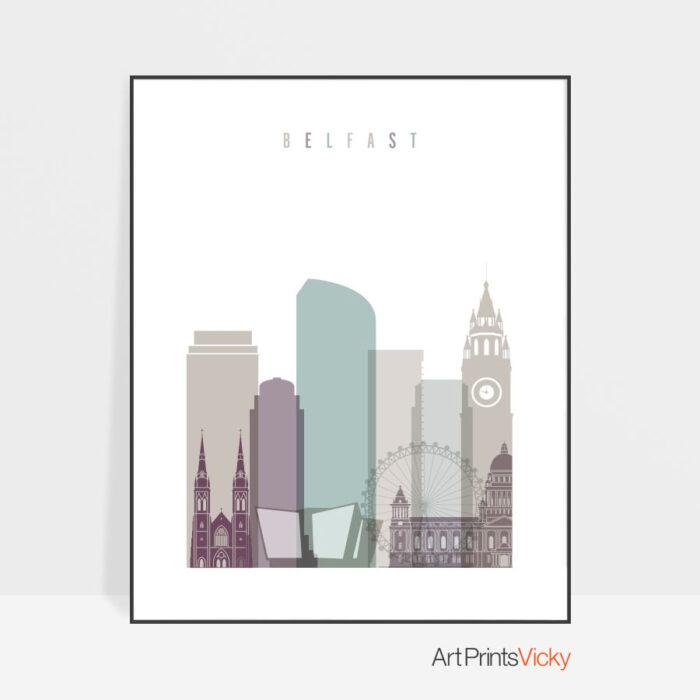 Belfast print skyline pastel 2