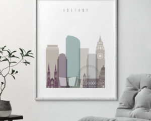 Belfast print skyline pastel 2 second
