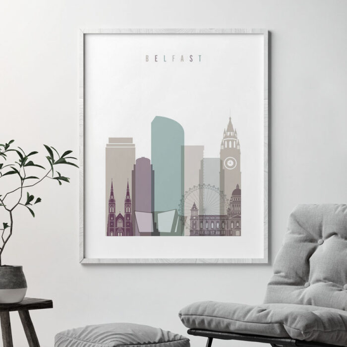 Belfast print skyline pastel 2 second