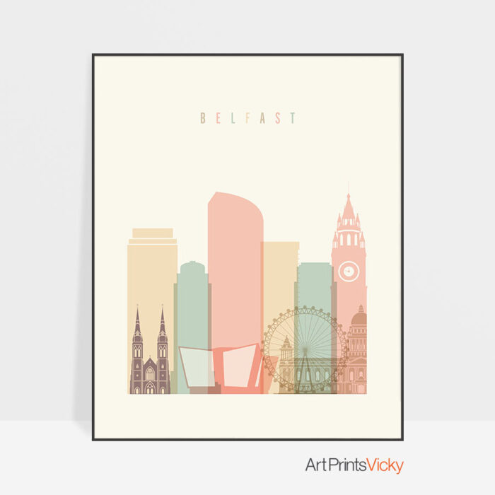 Belfast art print skyline pastel cream